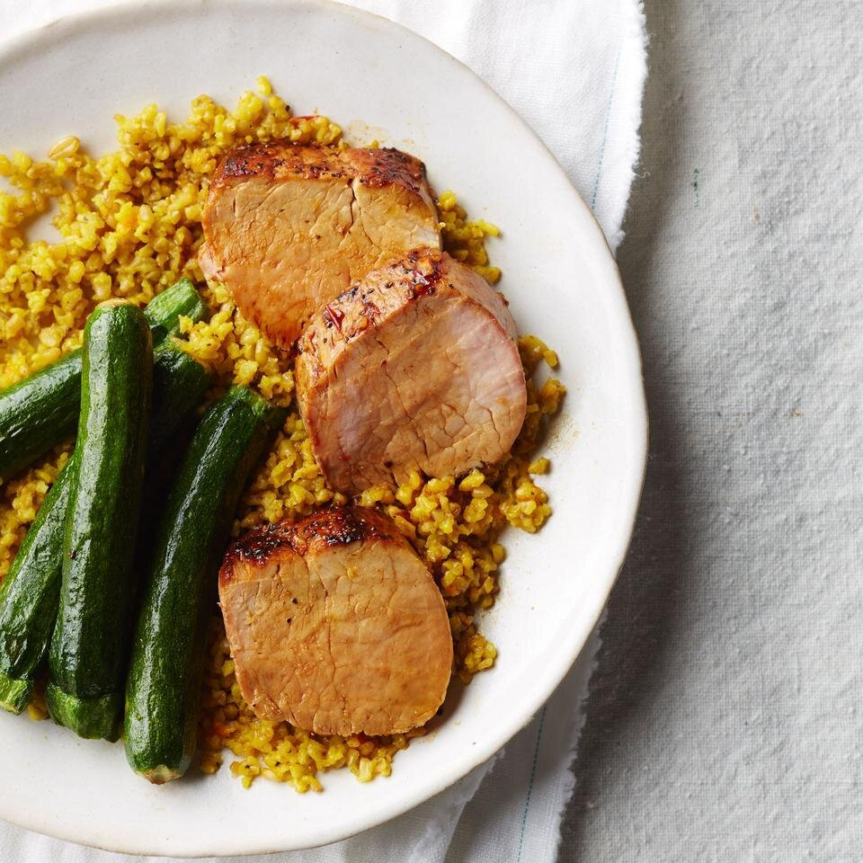 Honey-Harissa Pork Tenderloin with Saffron Freekeh & Zucchini