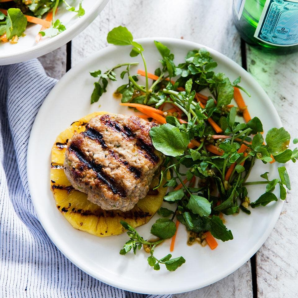 Sesame-Ginger Pork Patty with Grilled Pineapple