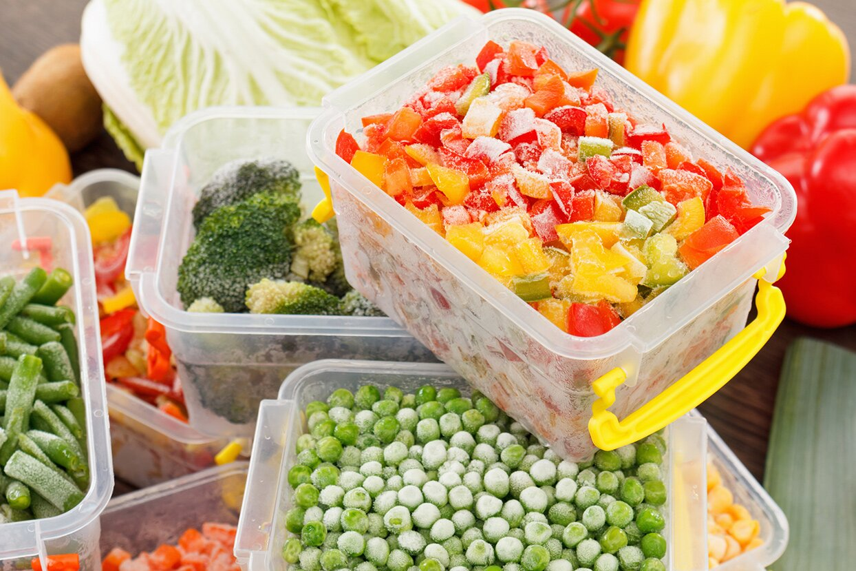 Frozen vegetables in storage containers