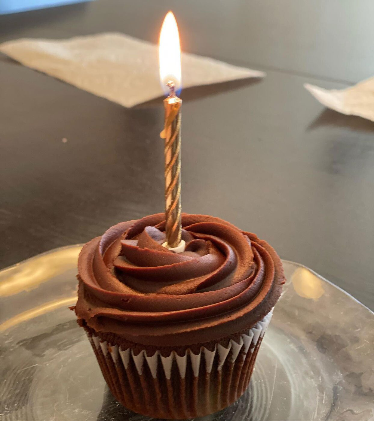 chocolate cupcake with a candle