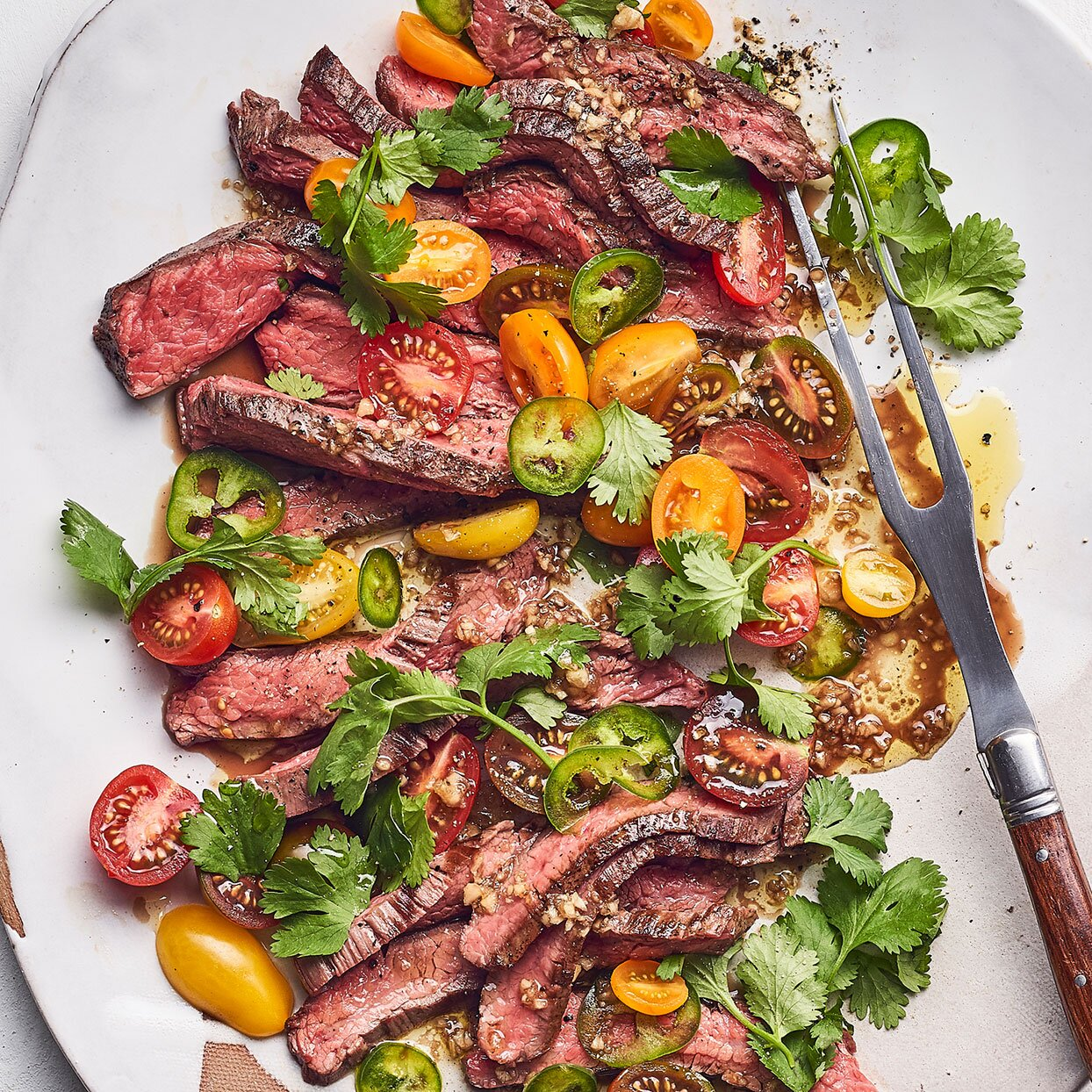 Grilled Flank Steak with Tomato Salad