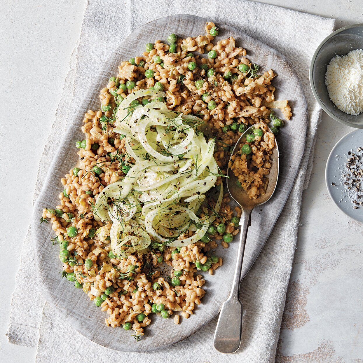 Slow-Cooker Parmesan & Pea Farro with Fennel Salad