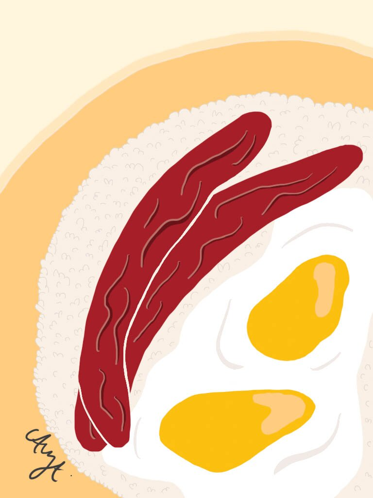 Chinese sausage and egg illustration