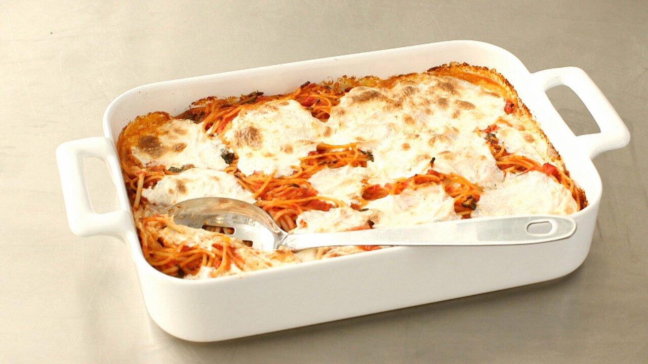 Baked Spaghetti And Mozzarella Recipe Martha Stewart