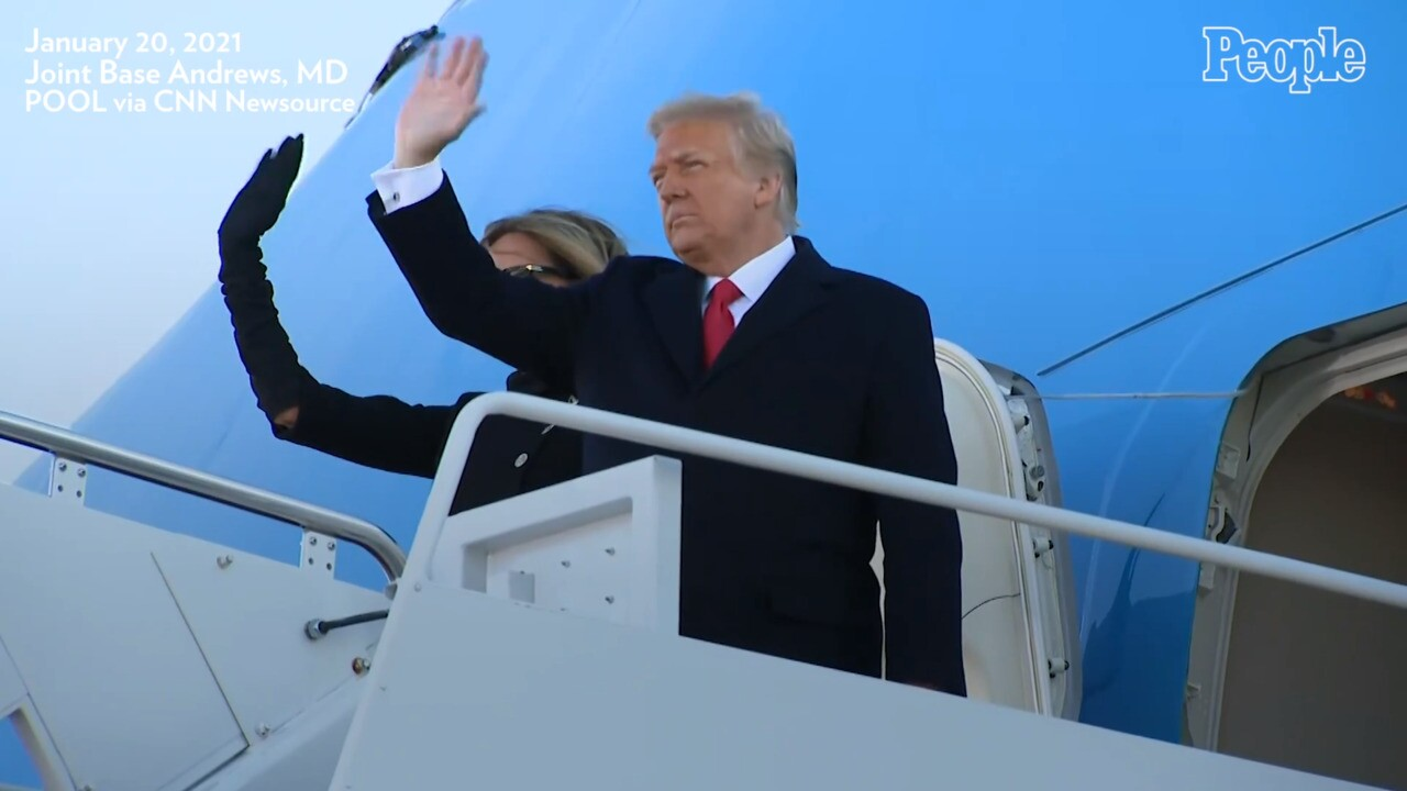 Donald Trump Lands in Florida with Melania amid Biden Inauguration |  PEOPLE.com