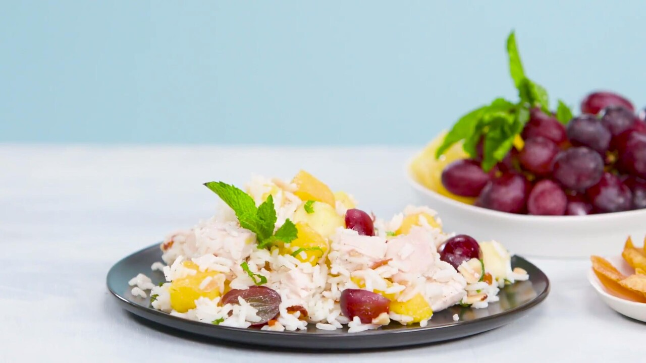 Chicken Rice And Tropical Fruit Salad Recipe Myrecipes