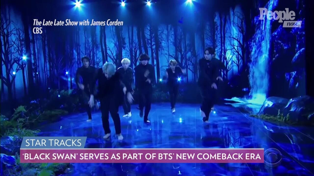 K Pop Group Bts Debuts Black Swan Song Barefoot On Late Late Show People Com