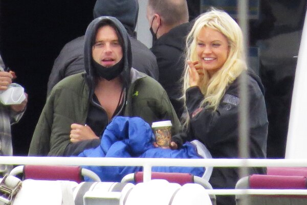 Lily James and Sebastian Stan Head Out on a Boat to Film a Scene for 'Pam and Tommy' in Los Angeles.