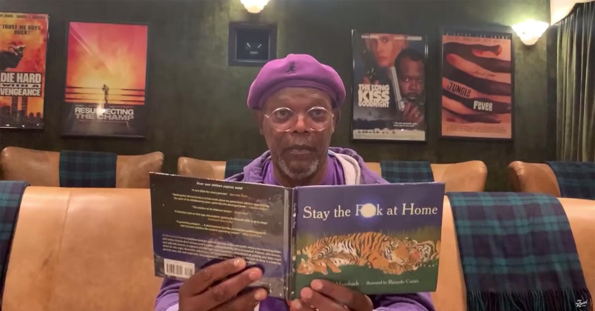 <em>Stay the F--- at Home</em>: Samuel L. Jackson has a new book to read on <em>Kimmel</em>