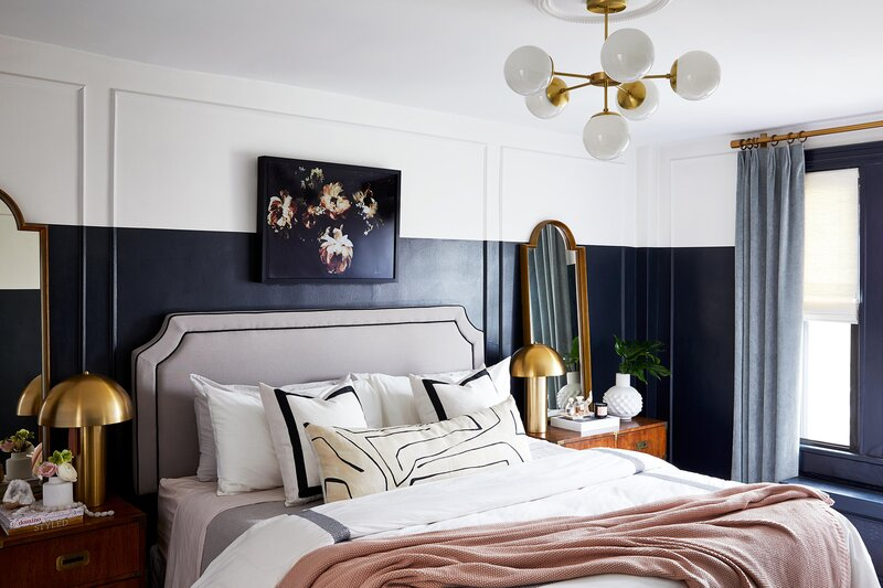 two toned wall master bedroom