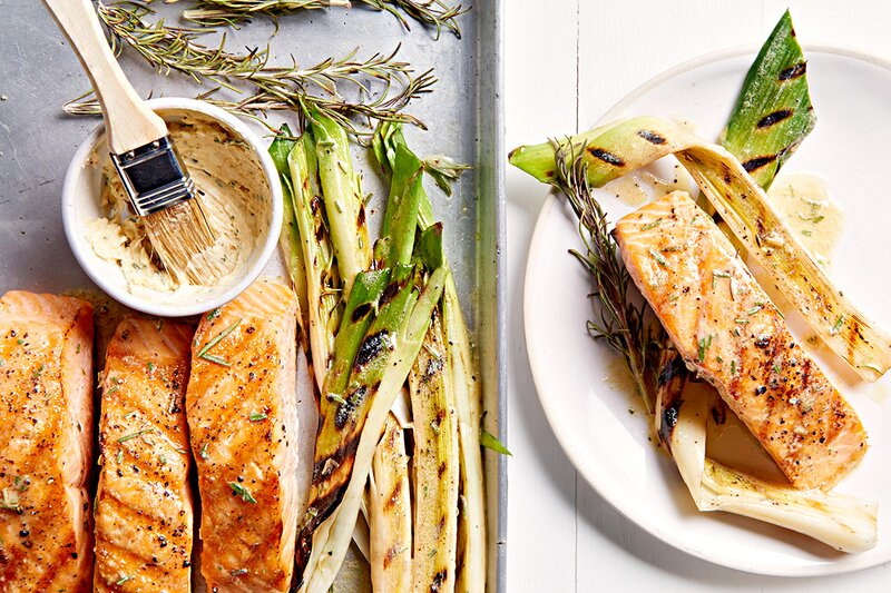 Grilled Salmon and Leeks with Rosemary-Mustard Butter