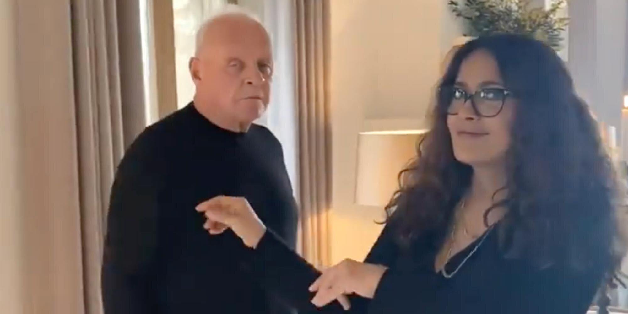 Salma Hayek dances with 'the king' Anthony Hopkins in sweet Oscars celebration video