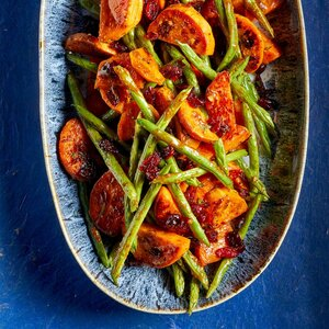 Mustard-Dressed Roasted Vegetables with Cranberries