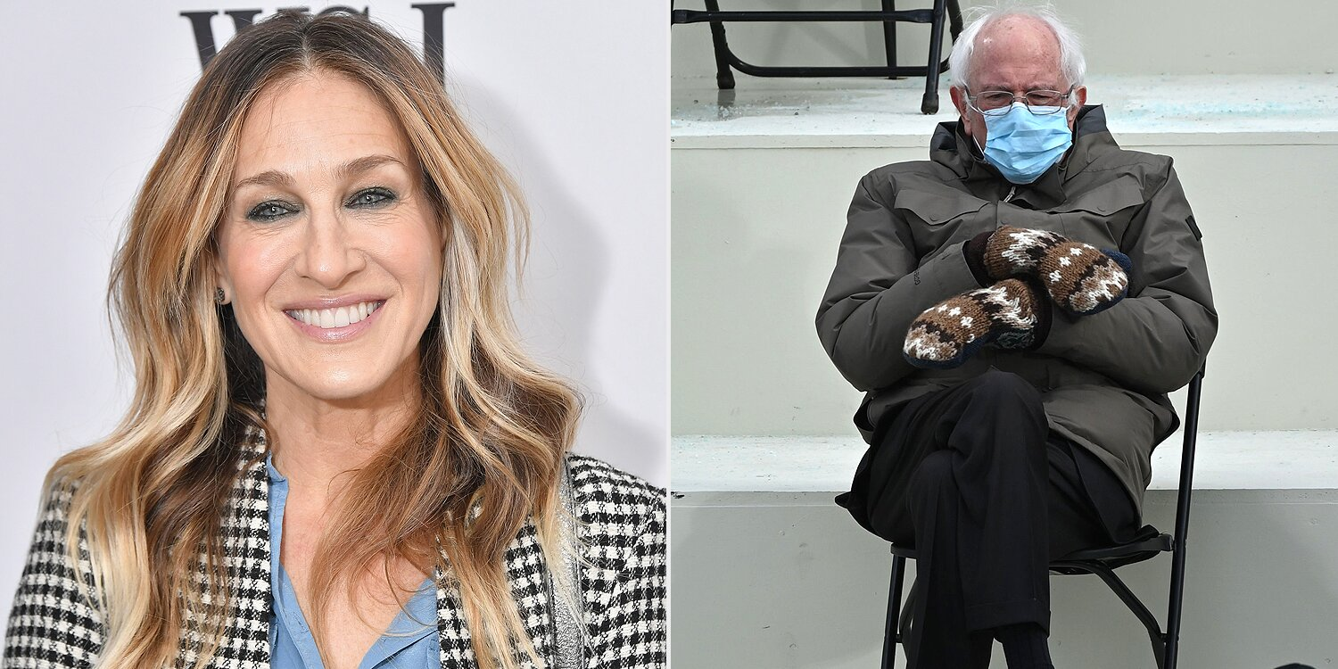 Sarah Jessica Parker Inserts Bernie Sanders Inauguration Meme Into Sex and the City Post