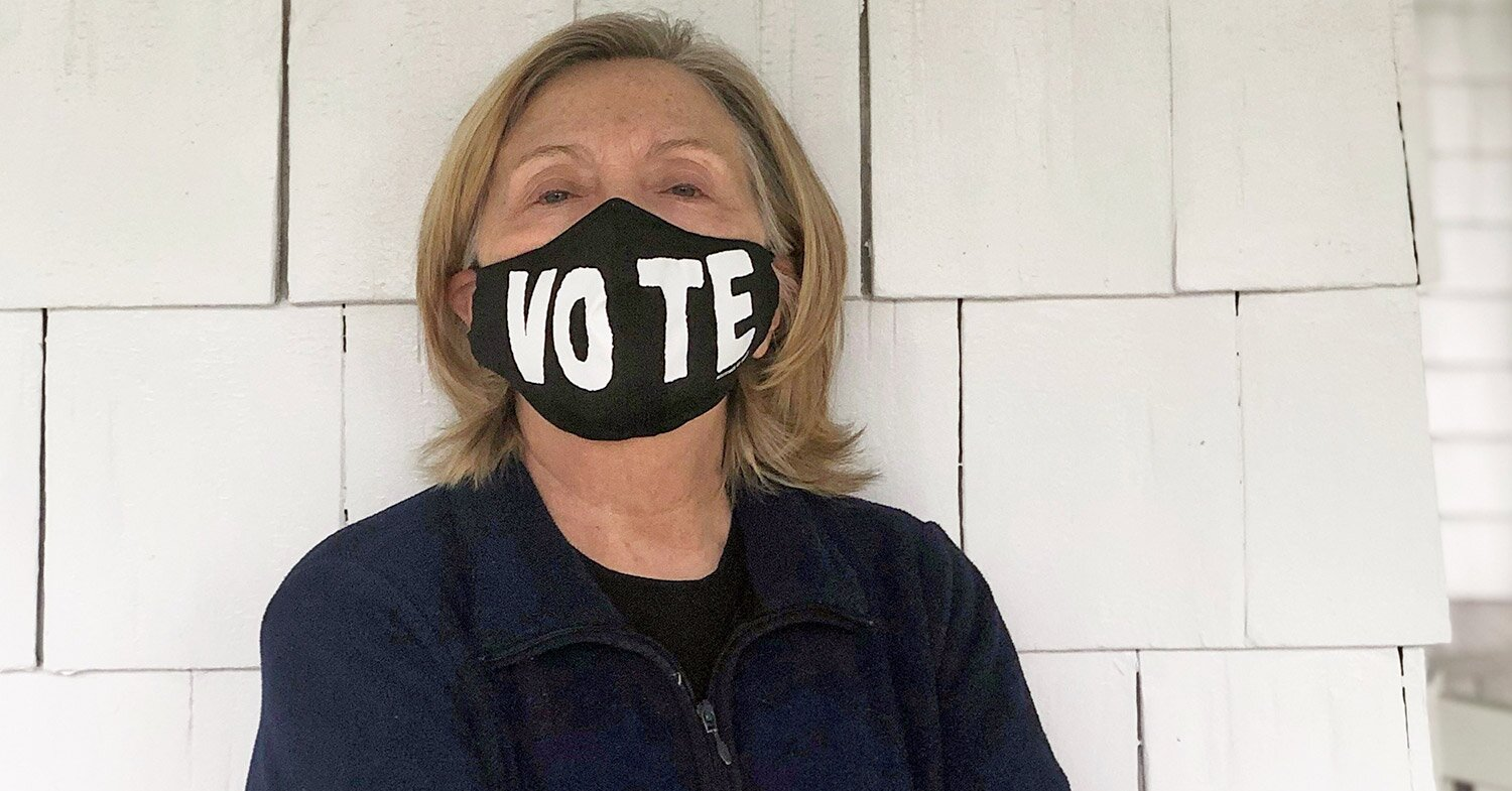 Why Hillary Clinton Went Makeup-Free in New Profile Photo with 'VOTE' Mask Rebuking Trump
