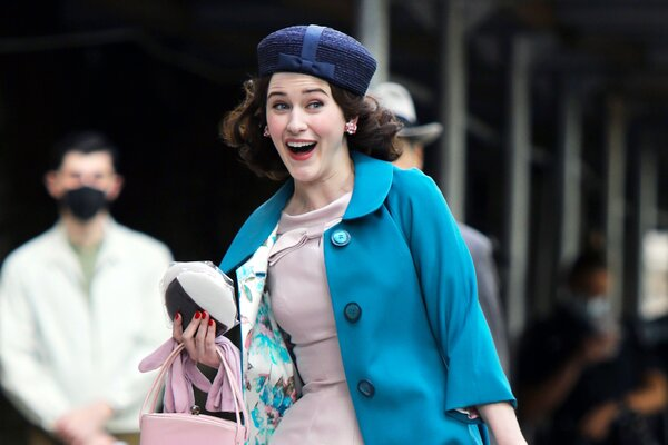 """Rachel Brosnahan is seen on the set of """"The Marvelous Mrs Maisel"""" on May 17, 2021 in New York City"""