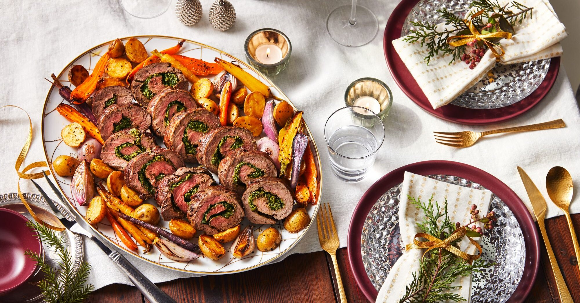 Stuffed Beef Tenderloin with Roasted Vegetables
