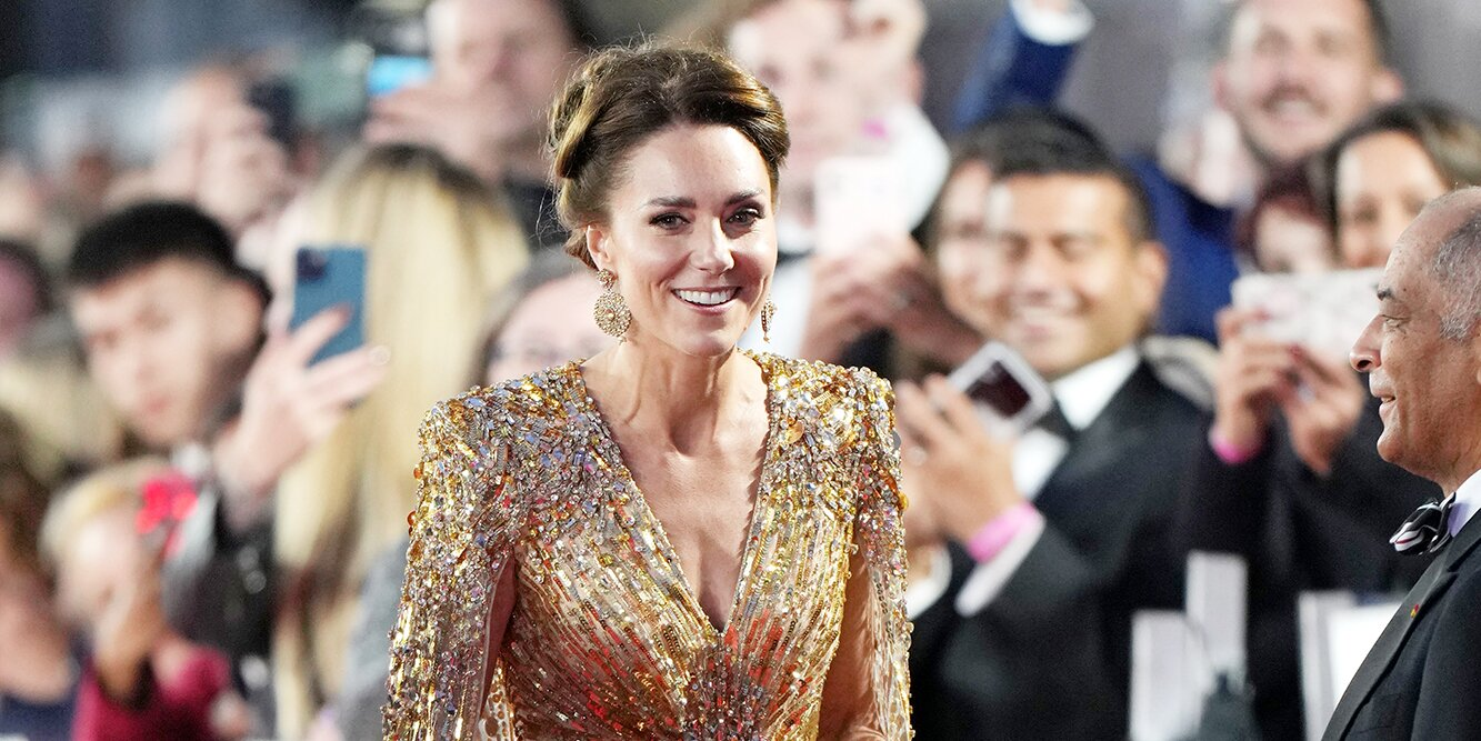 Kate Middleton Glitters in Gold While Walking James Bond No Time to Die Red Carpet with Prince William.jpg