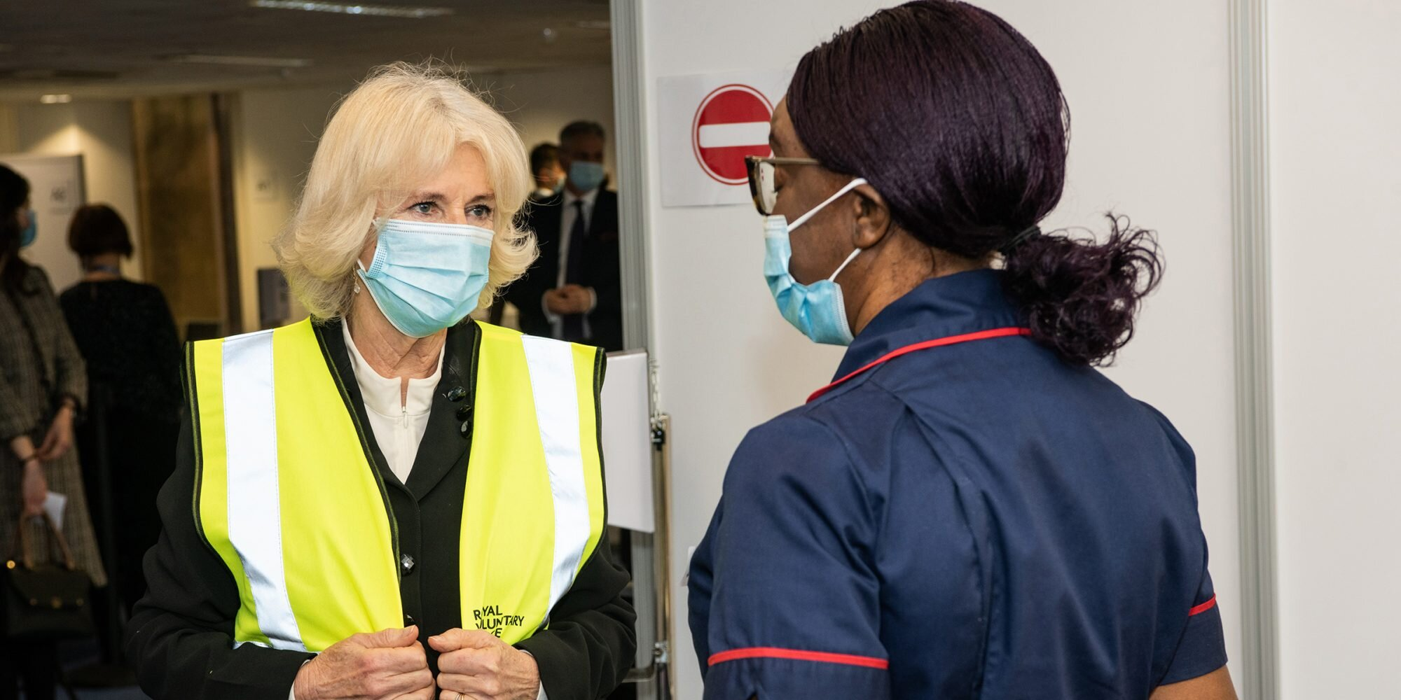Camilla, Duchess of Cornwall Meets Volunteers at COVID Vaccination Center: 'First Step of Freedom'.jpg