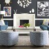 eclectic living room with dark gray walls