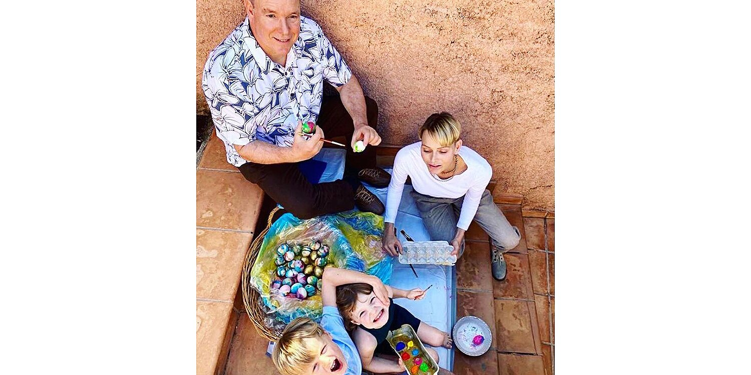 Prince Albert and Princess Charlene Share Most Casual Family Photo Yet — Painting Easter Eggs!.jpg