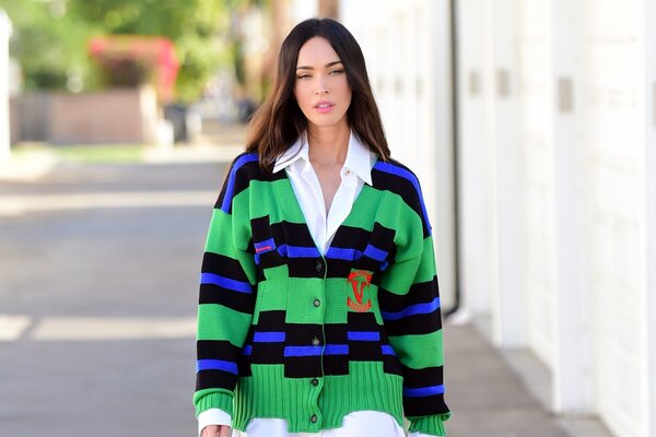 Megan Fox Steps Out in Preppy Versace Look While Visiting a Friend in West Hollywood