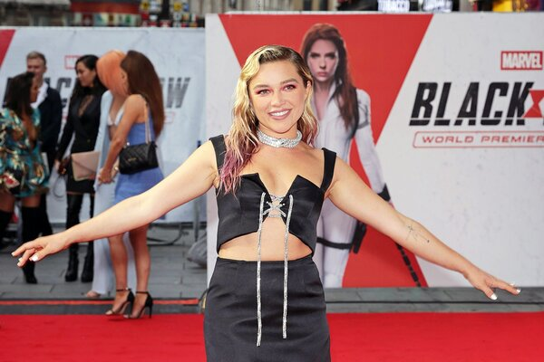 """Florence Pugh attends the World Premiere fan even for Marvel Studios' """"Black Widow"""" at Cineworld Leicester Square on June 29, 2021 in London, England"""