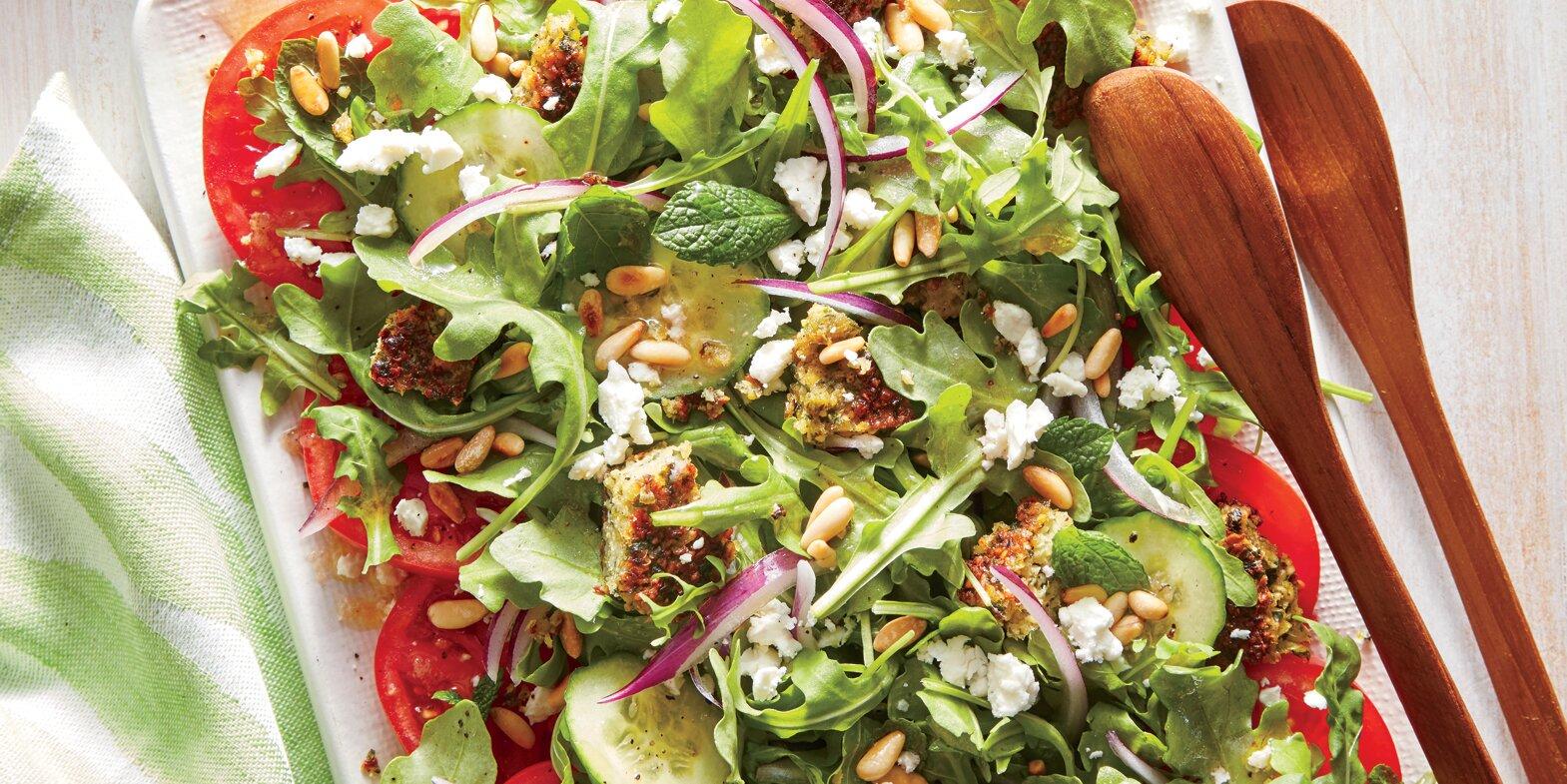 Falafel, Feta, and Tomato Salad Recipe