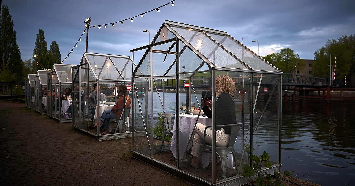 A Restaurant in Amsterdam Built Quarantine Greenhouses so Diners Can Eat While Social Distancing