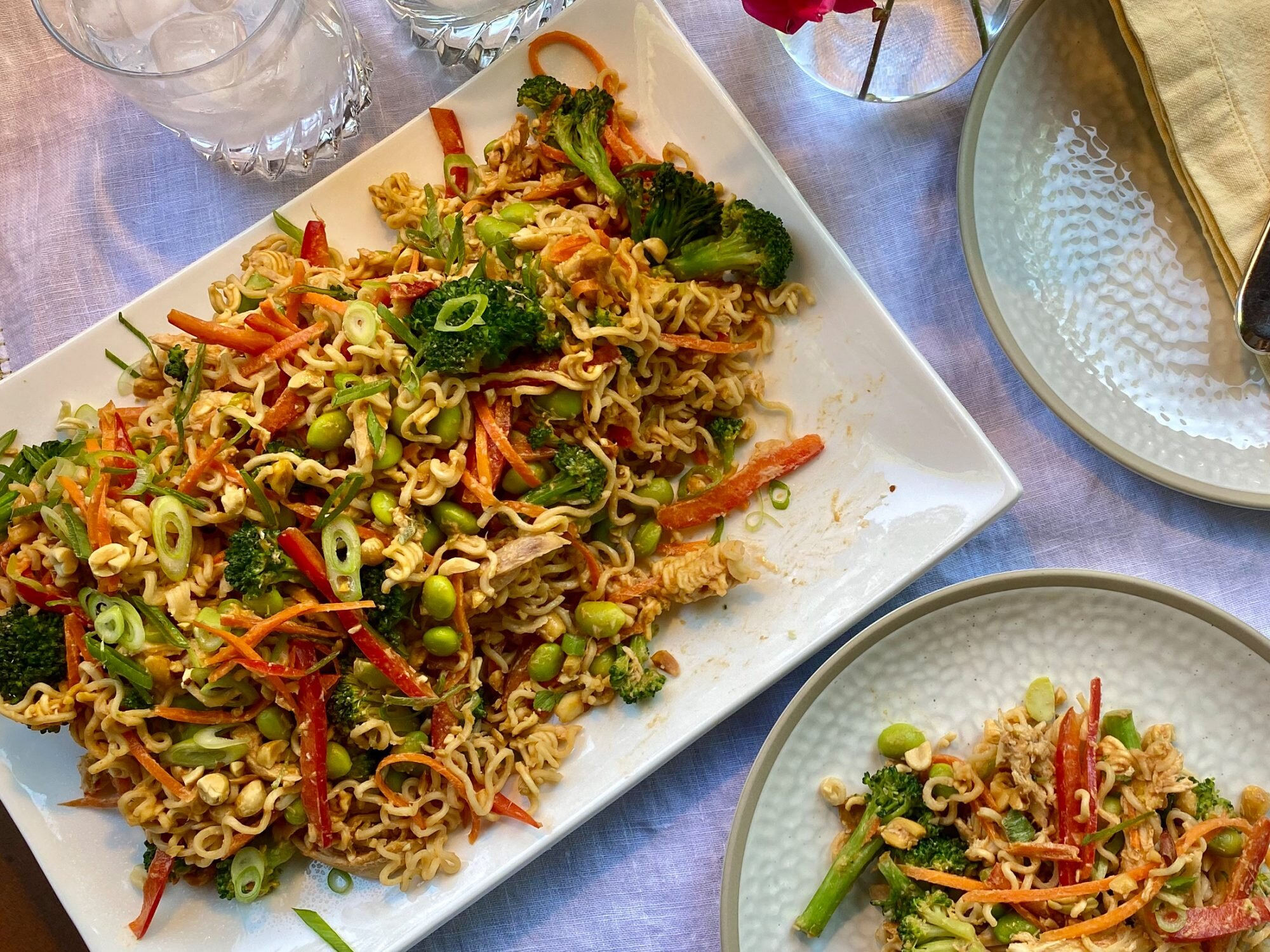 Crunchy Ramen Chicken Salad with Spicy Peanut Dressing