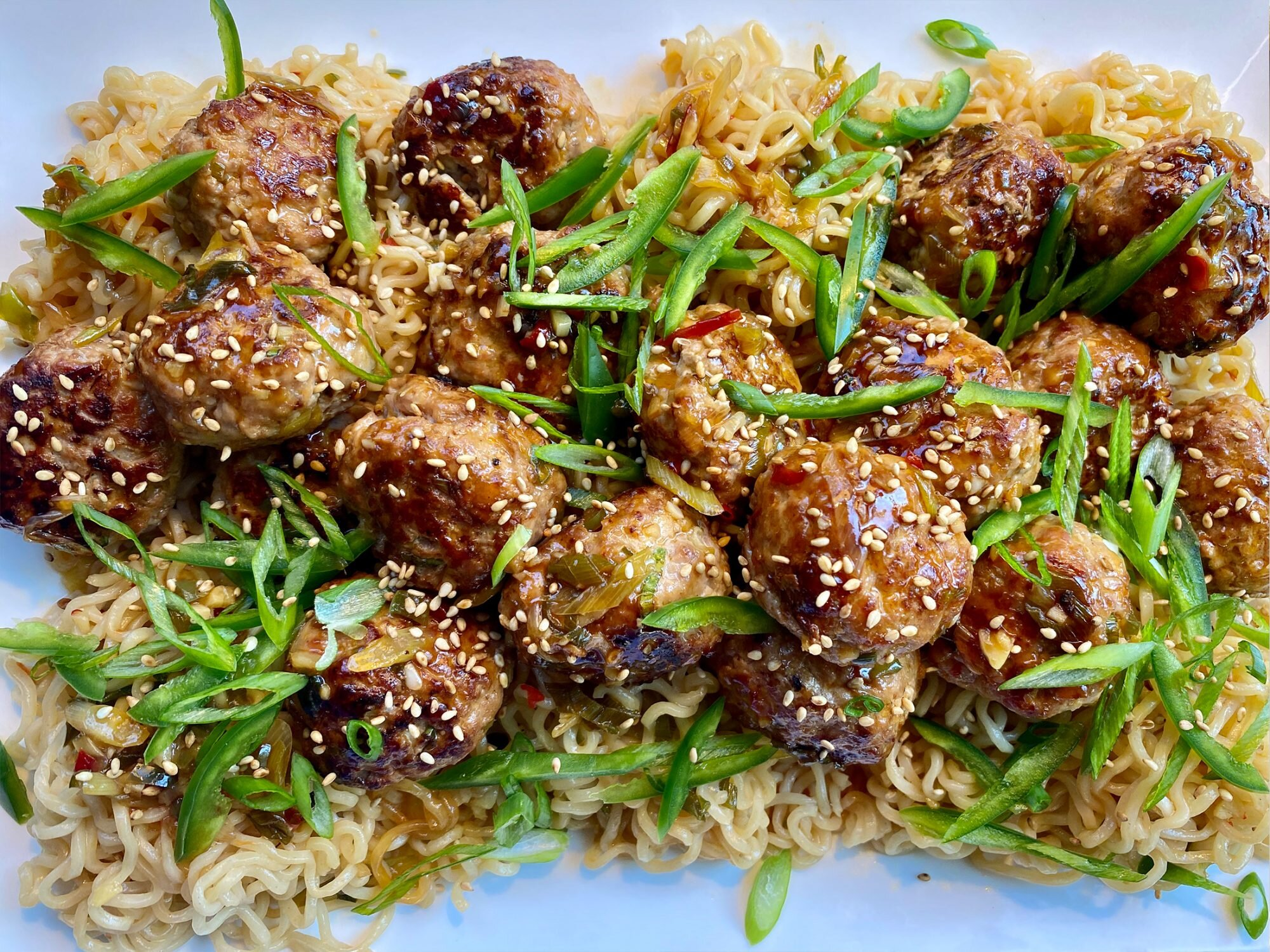 Ramen and Sweet-and-Spicy Pork Meatballs