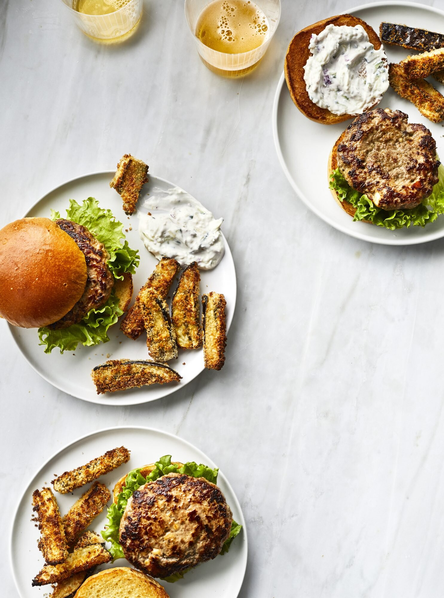 Greek Lamb Burgers With Baked Eggplant Fries