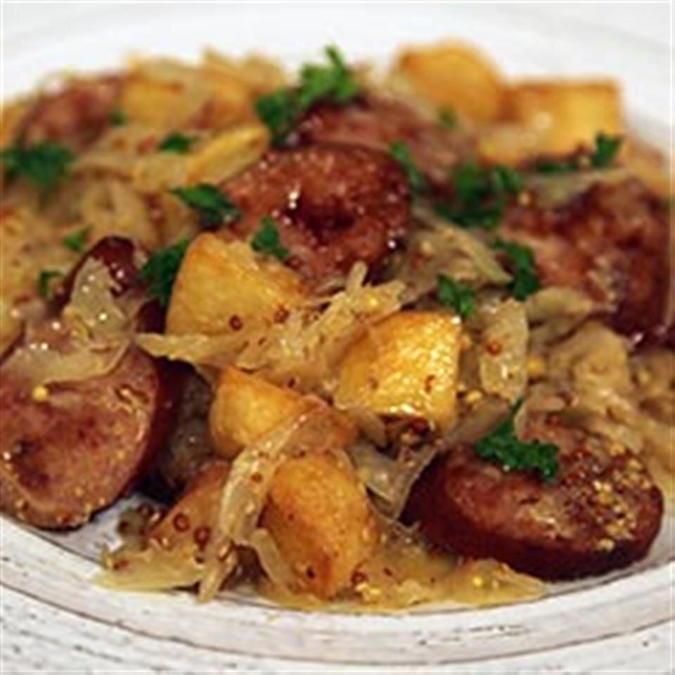 smoked sausage with potatoes sauerkraut ale