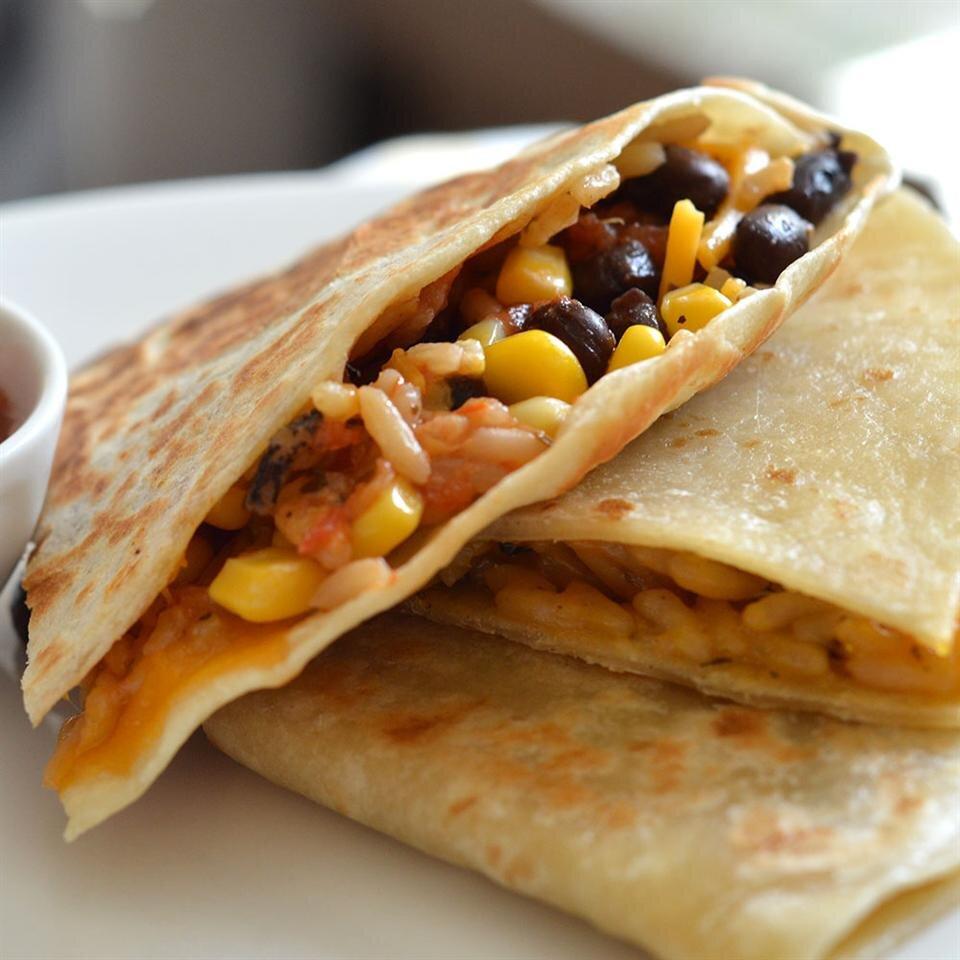 wild rice corn and black bean quesadillas