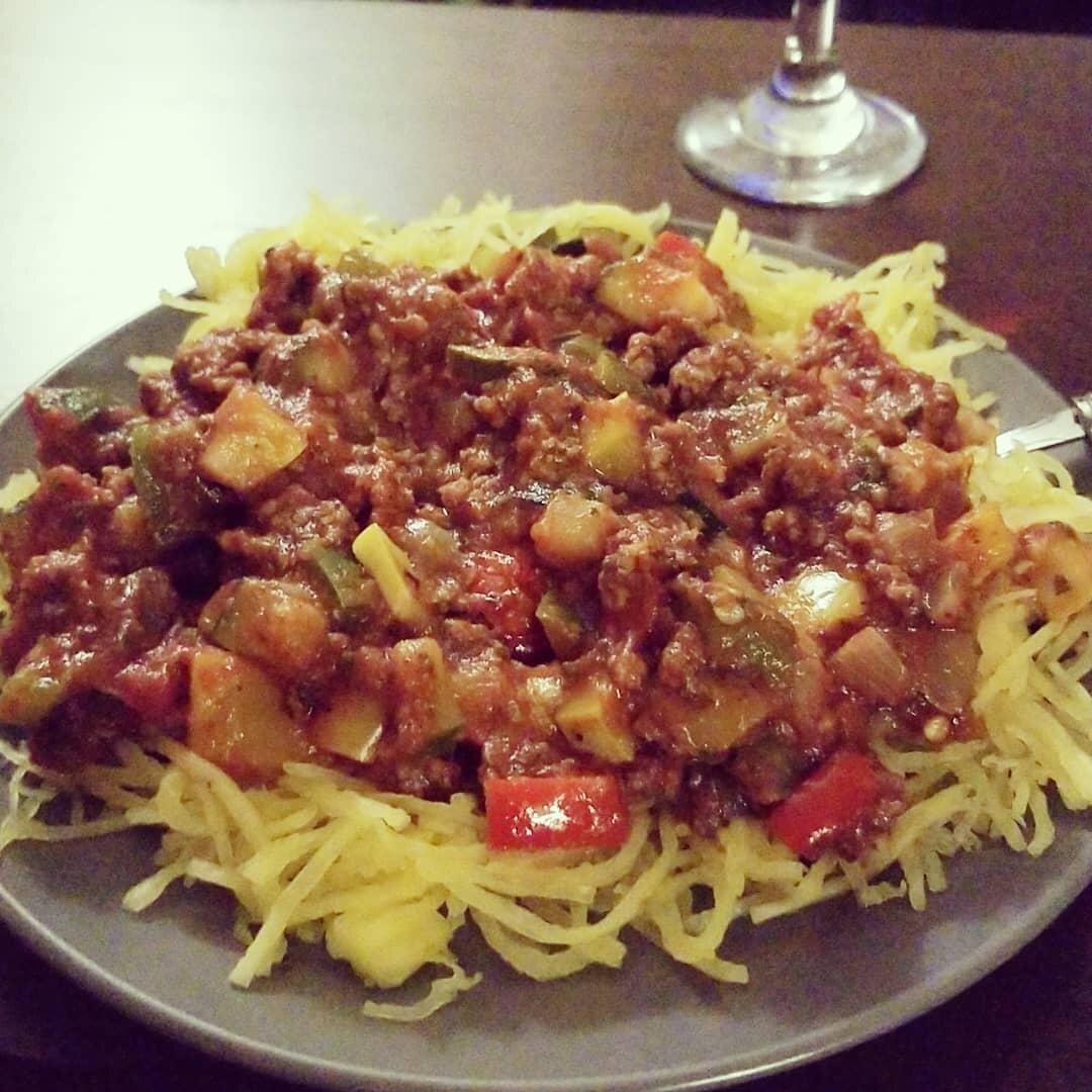 spaghetti squash spaghetti with meat sauce recipe
