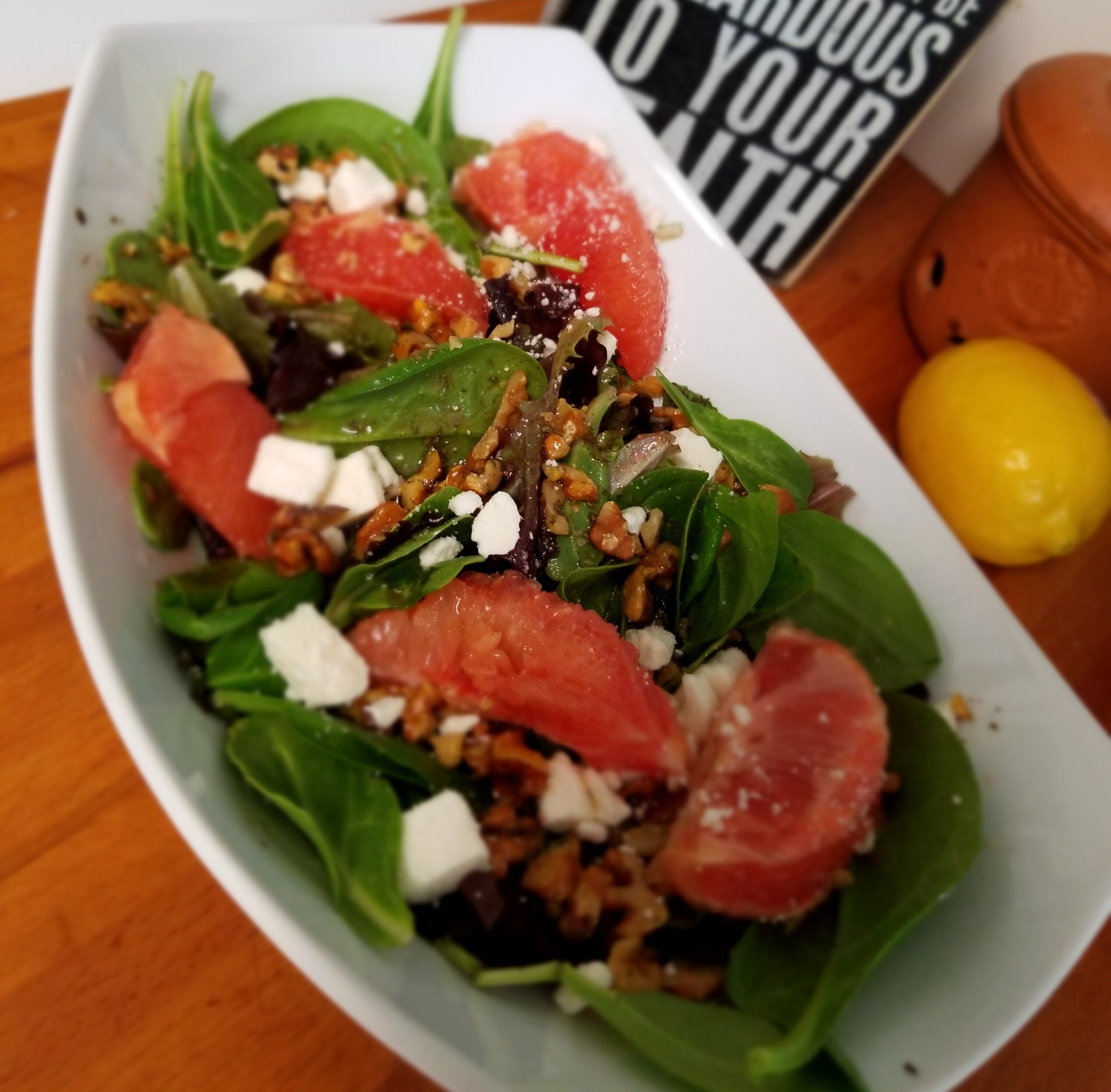 citrus spinach salad with feta and cranberry dressing recipe