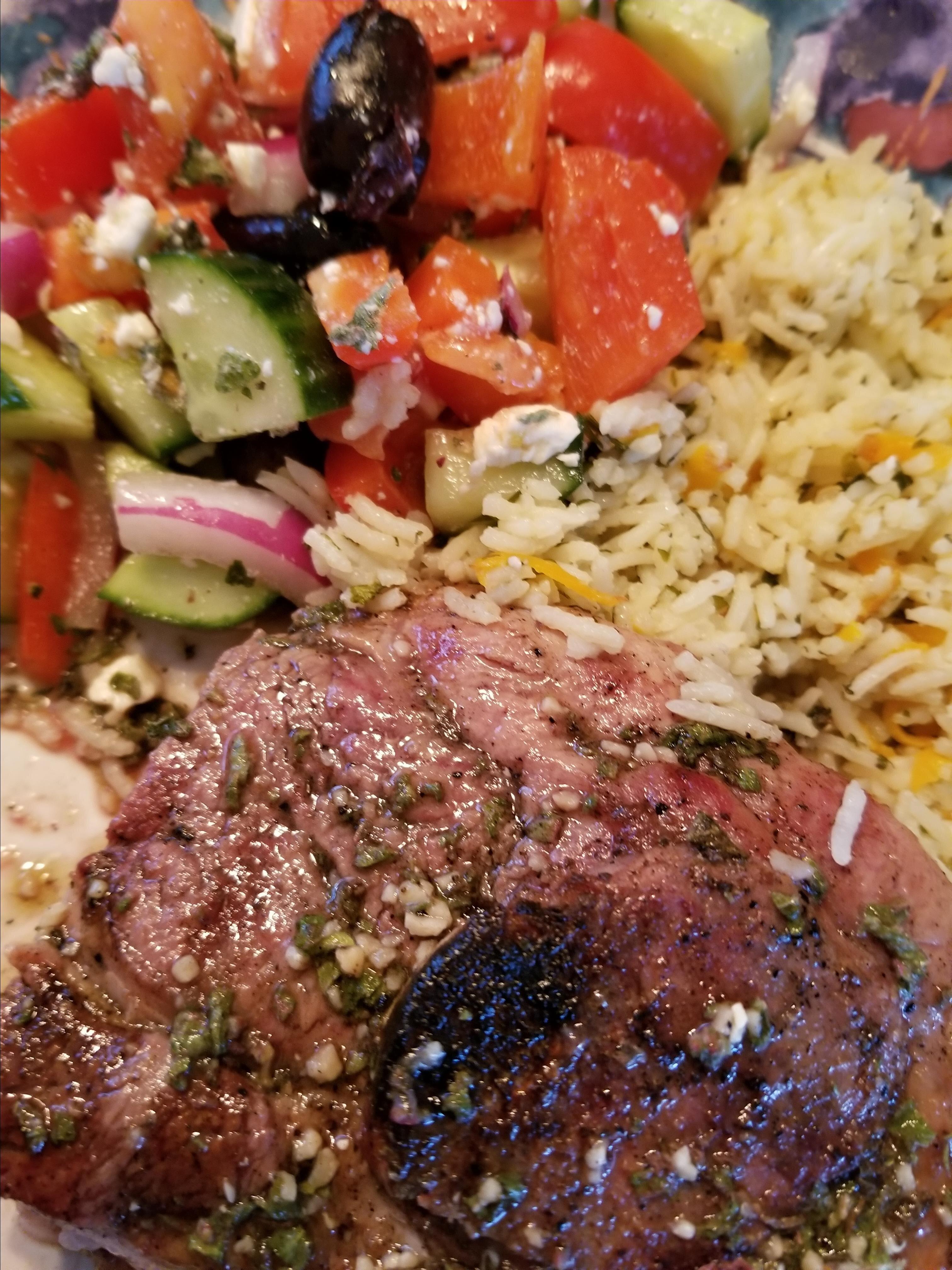grilled lamb shoulder steaks
