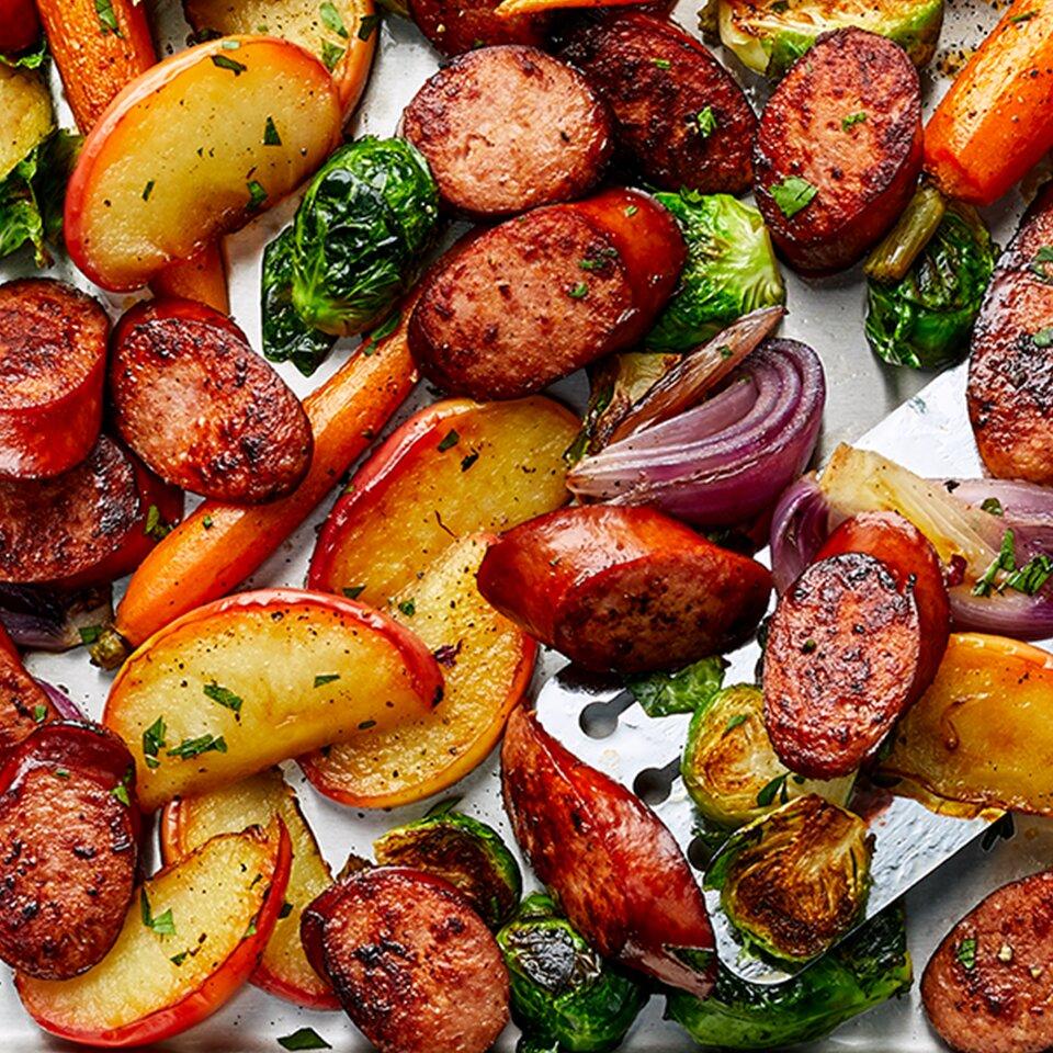 sheet pan smoked sausage apple and root veggie dinner