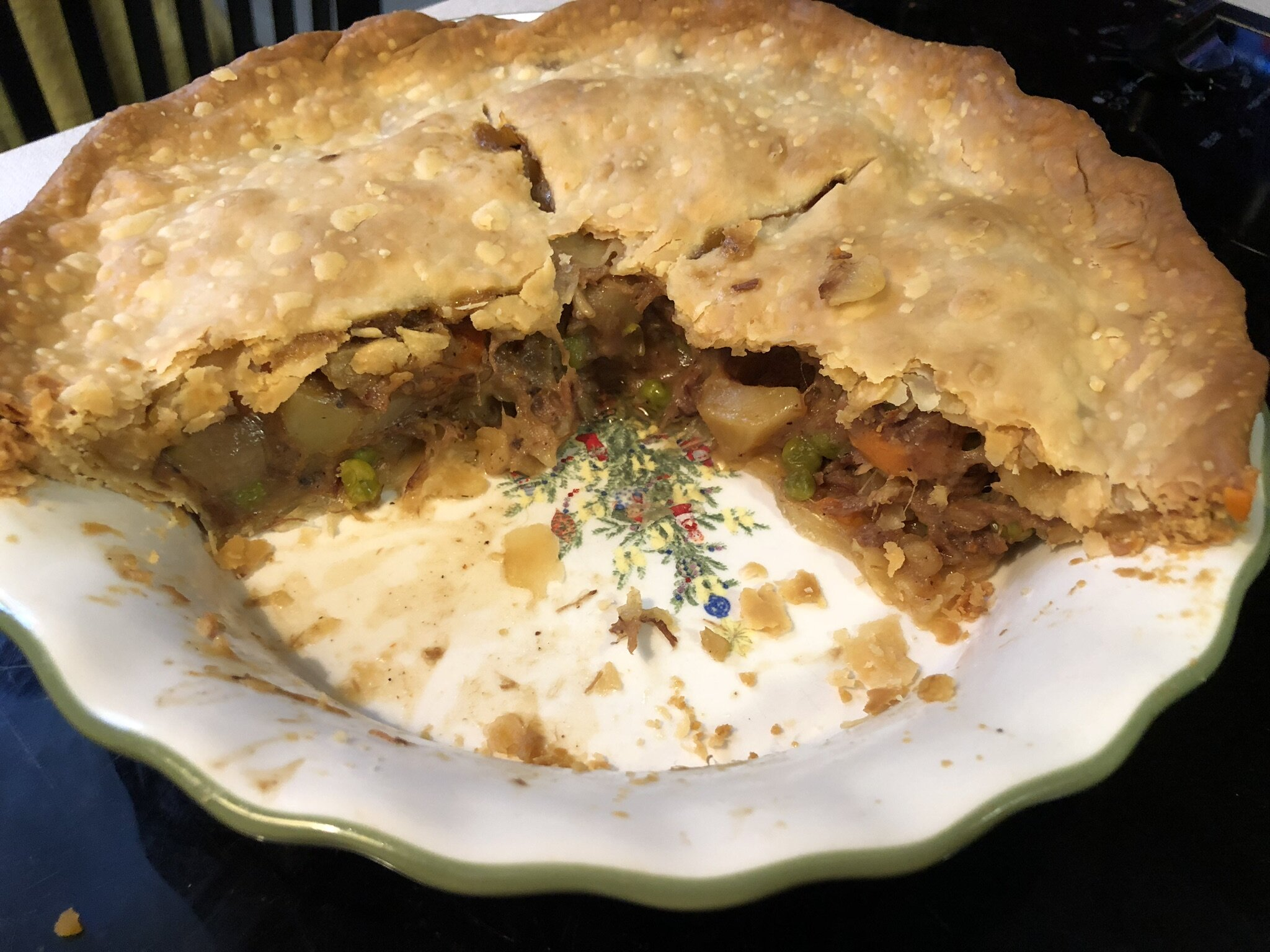 pot pie with leftover pot roast and vegetables