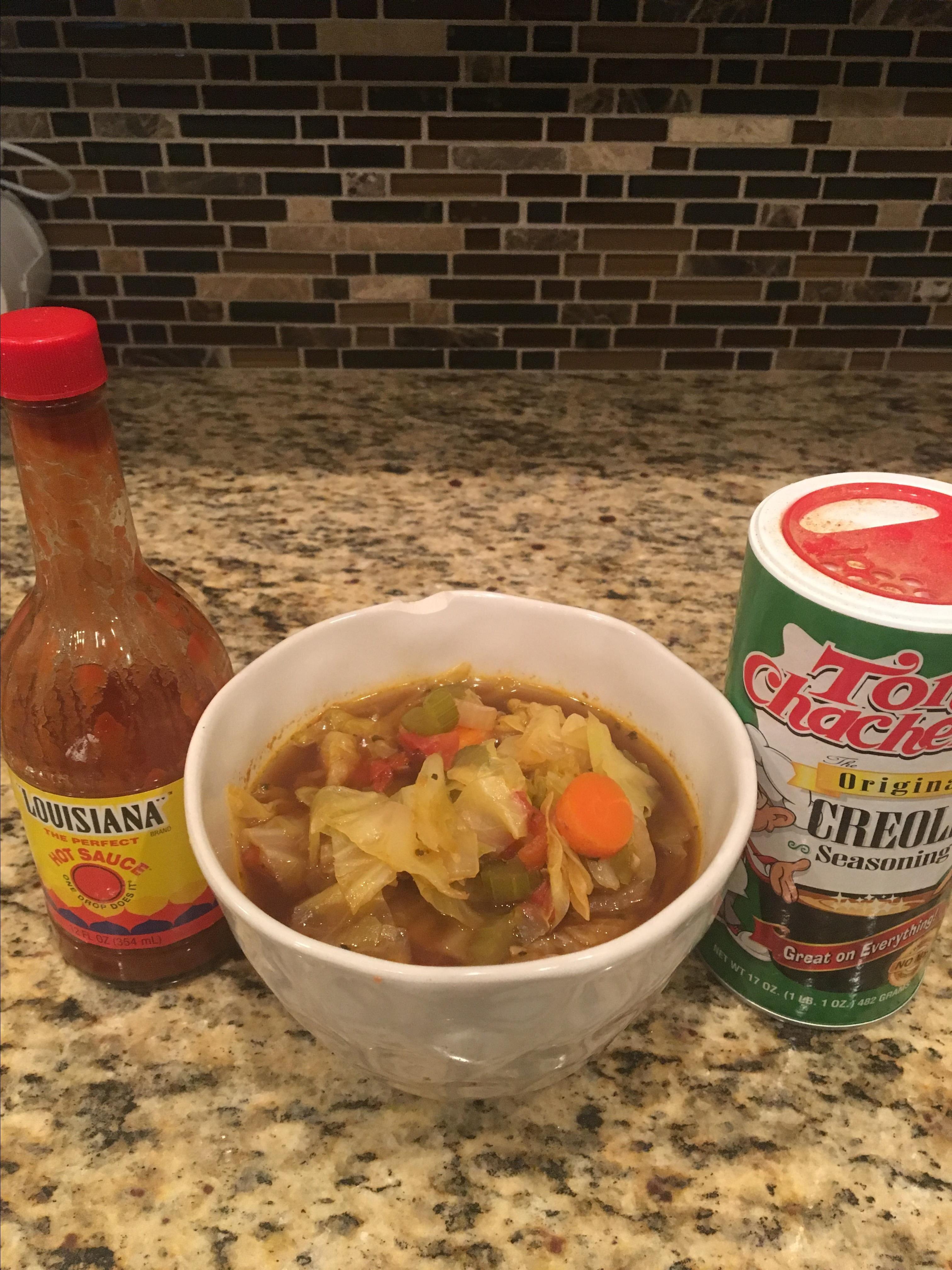 meatless cajun cabbage soup recipe