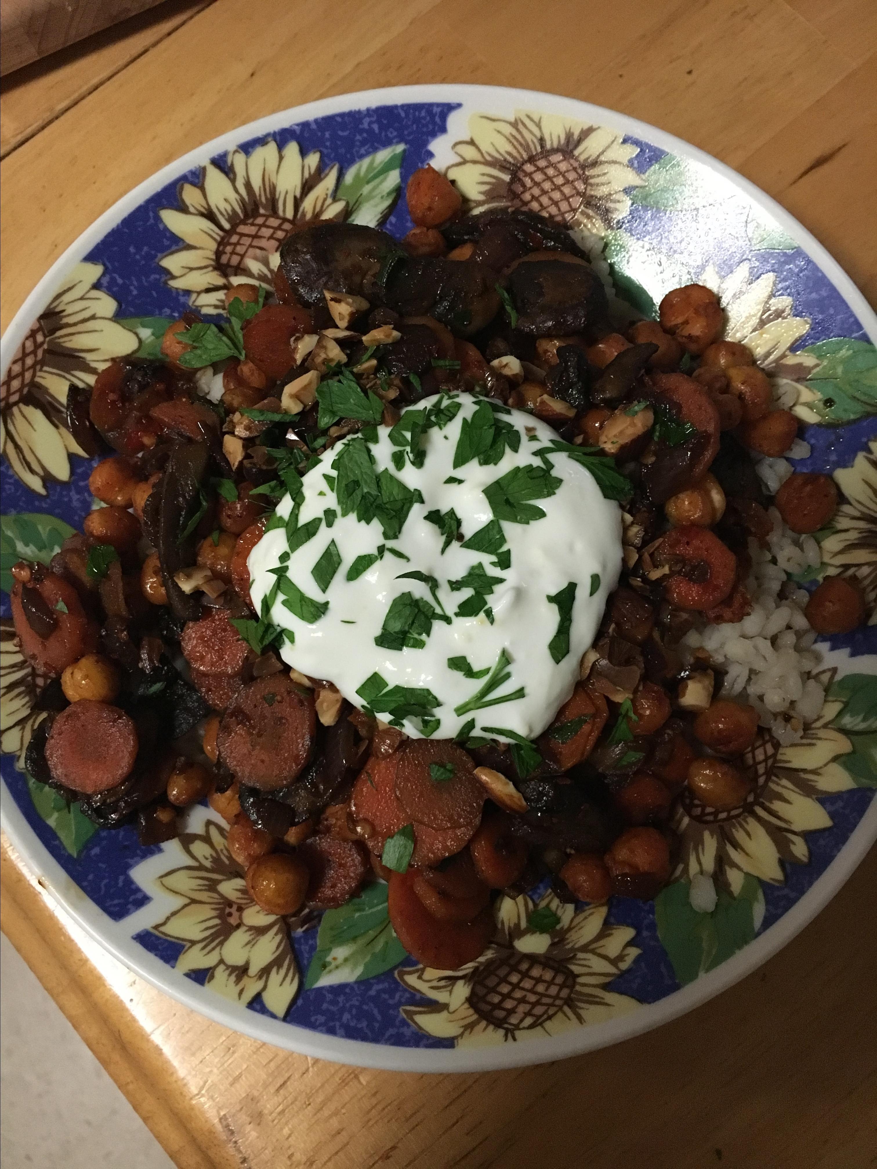 crispy chickpea grain bowl with lemon yogurt recipe