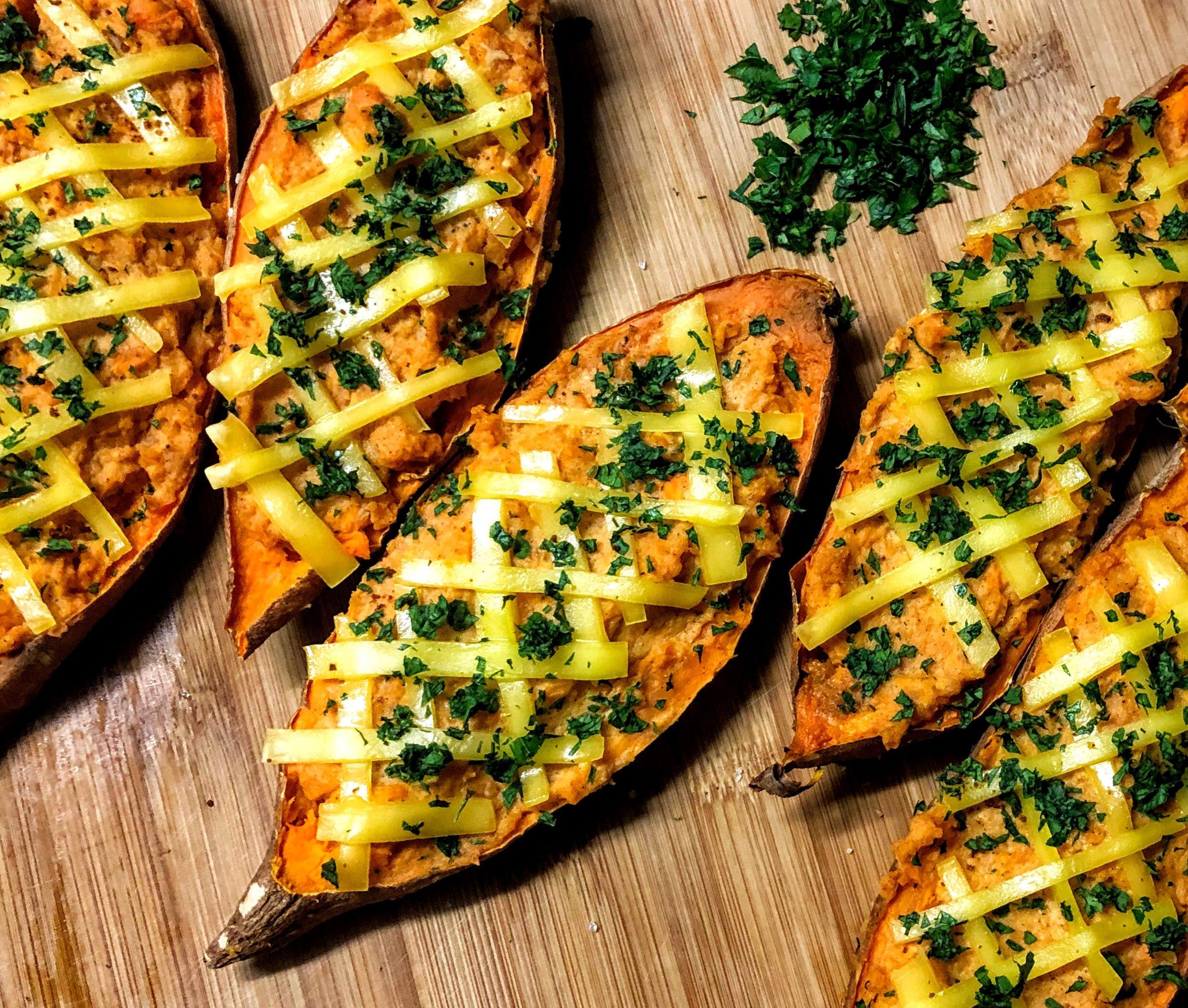 vegan twice baked sweet potatoes