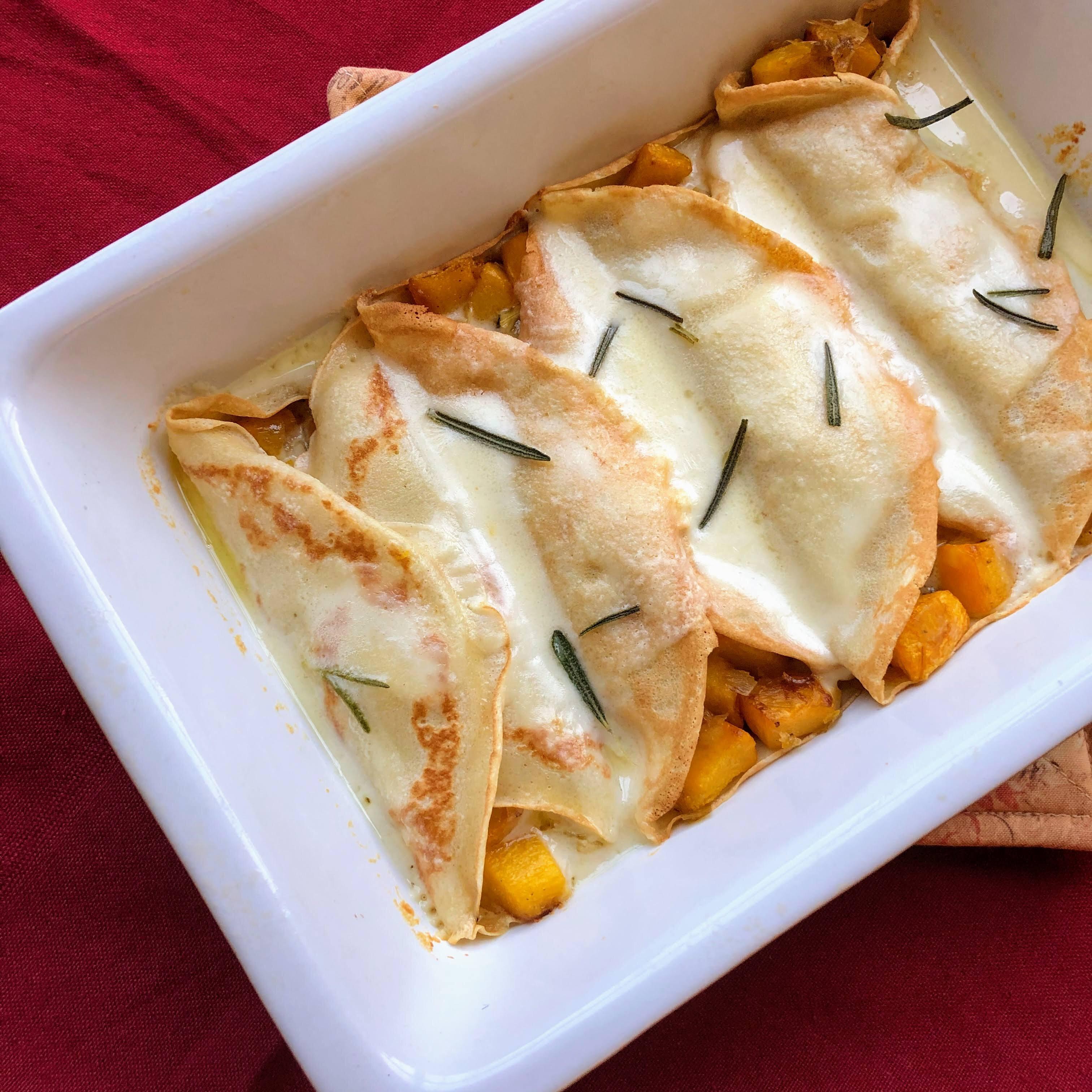 pumpkin crepes with fontina cheese sauce recipe