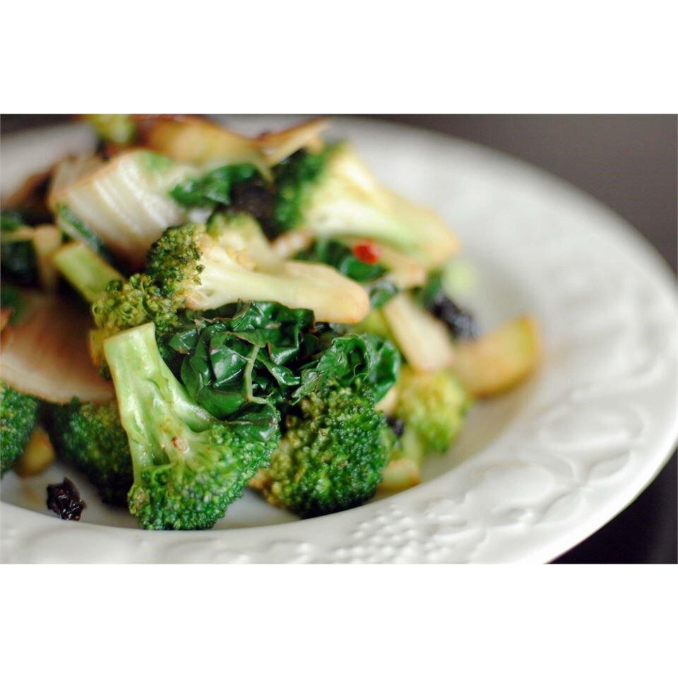 stir fried kale and broccoli florets recipe