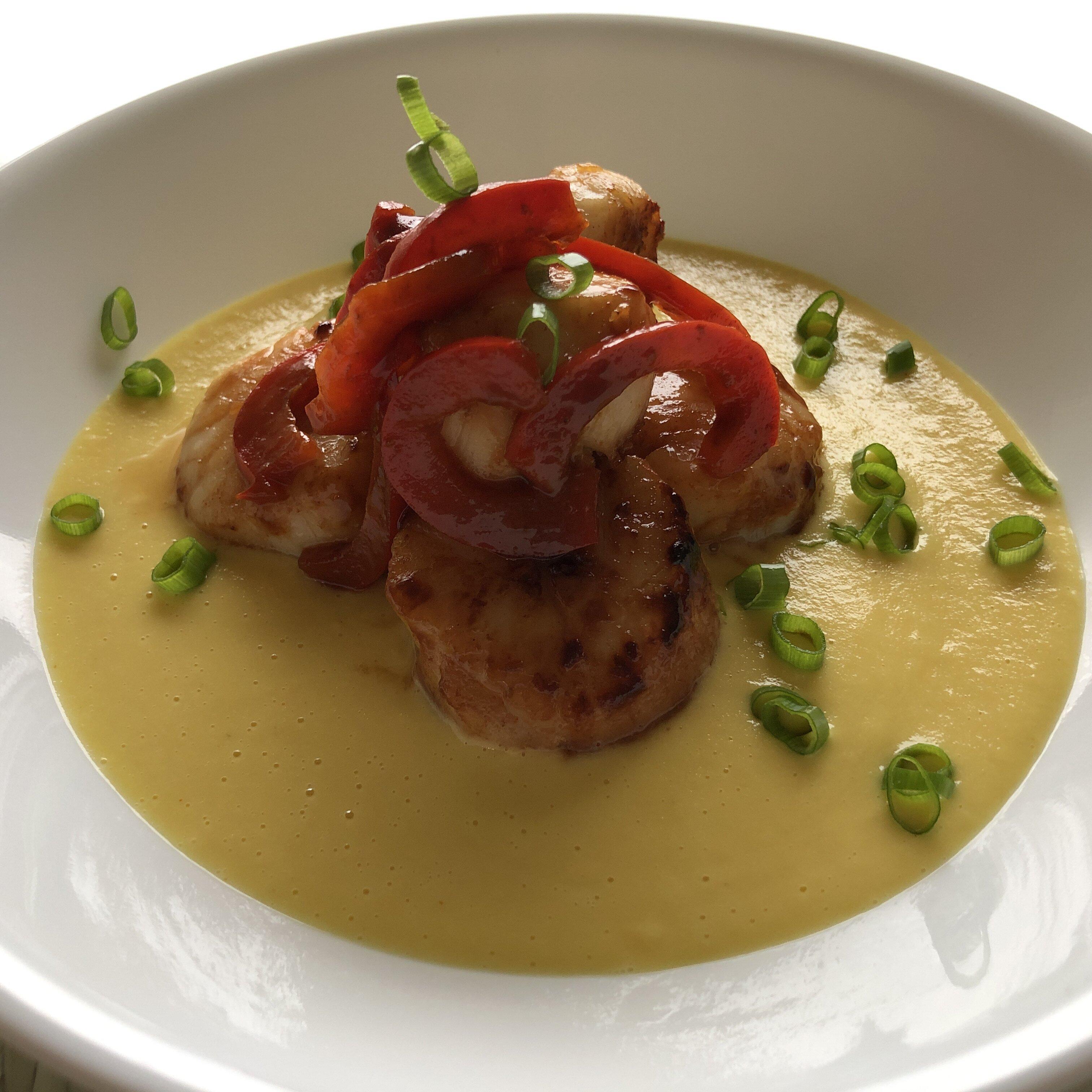 seared scallops with corn cream recipe