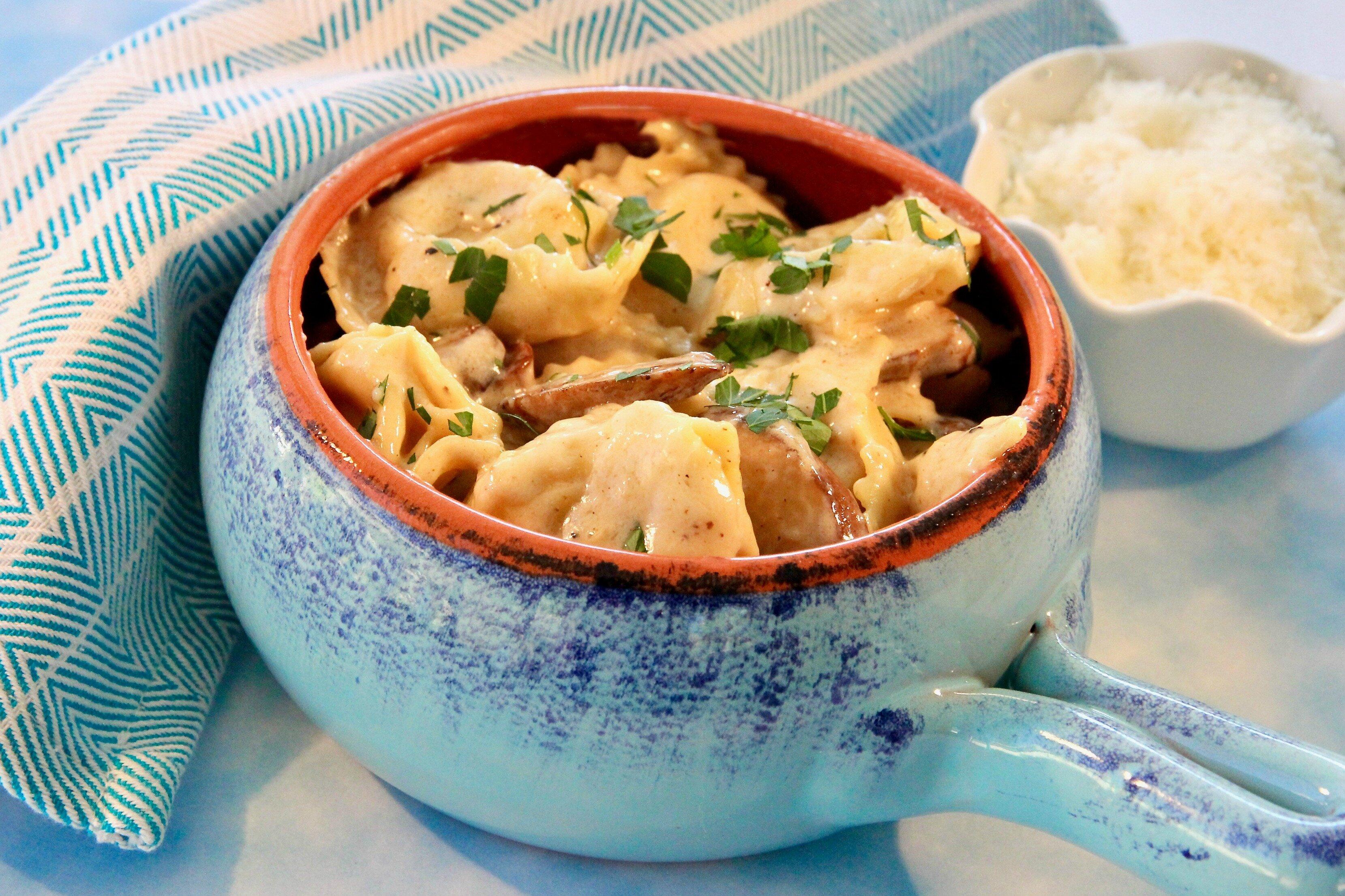 mushroom tortellini alfredo recipe