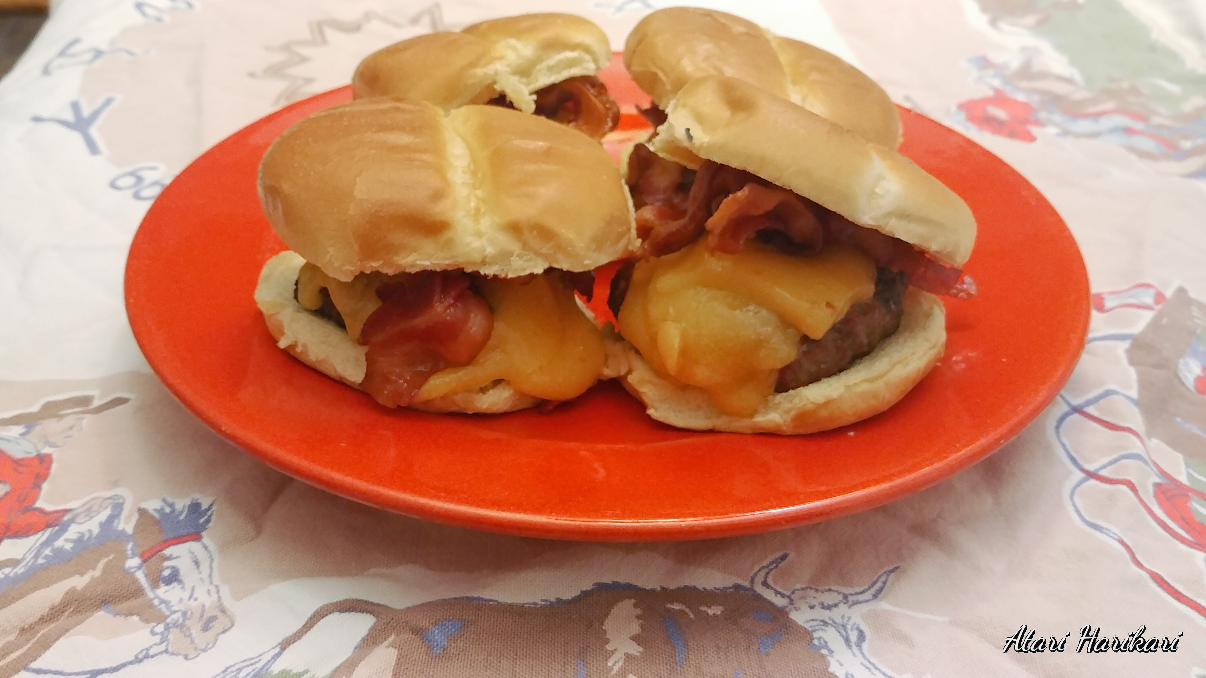 grilled bison cheeseburgers with bacon