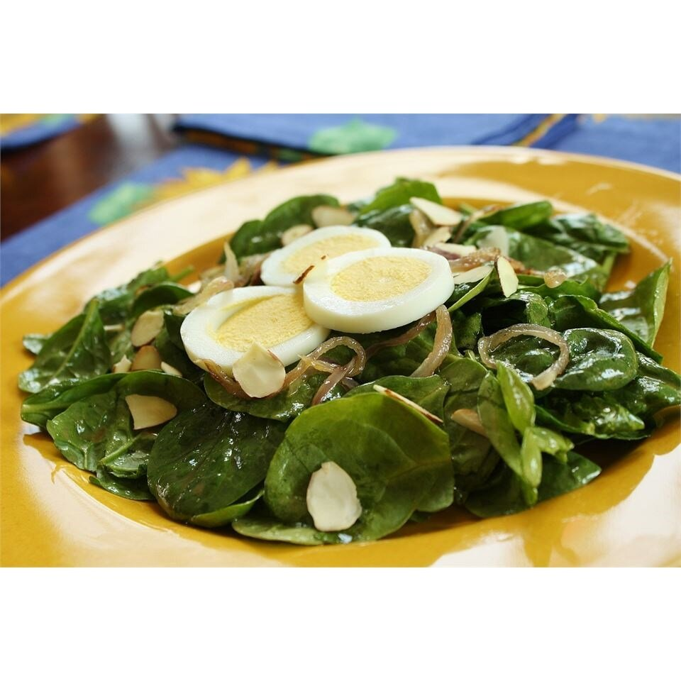 wilted spinach and almond salad recipe