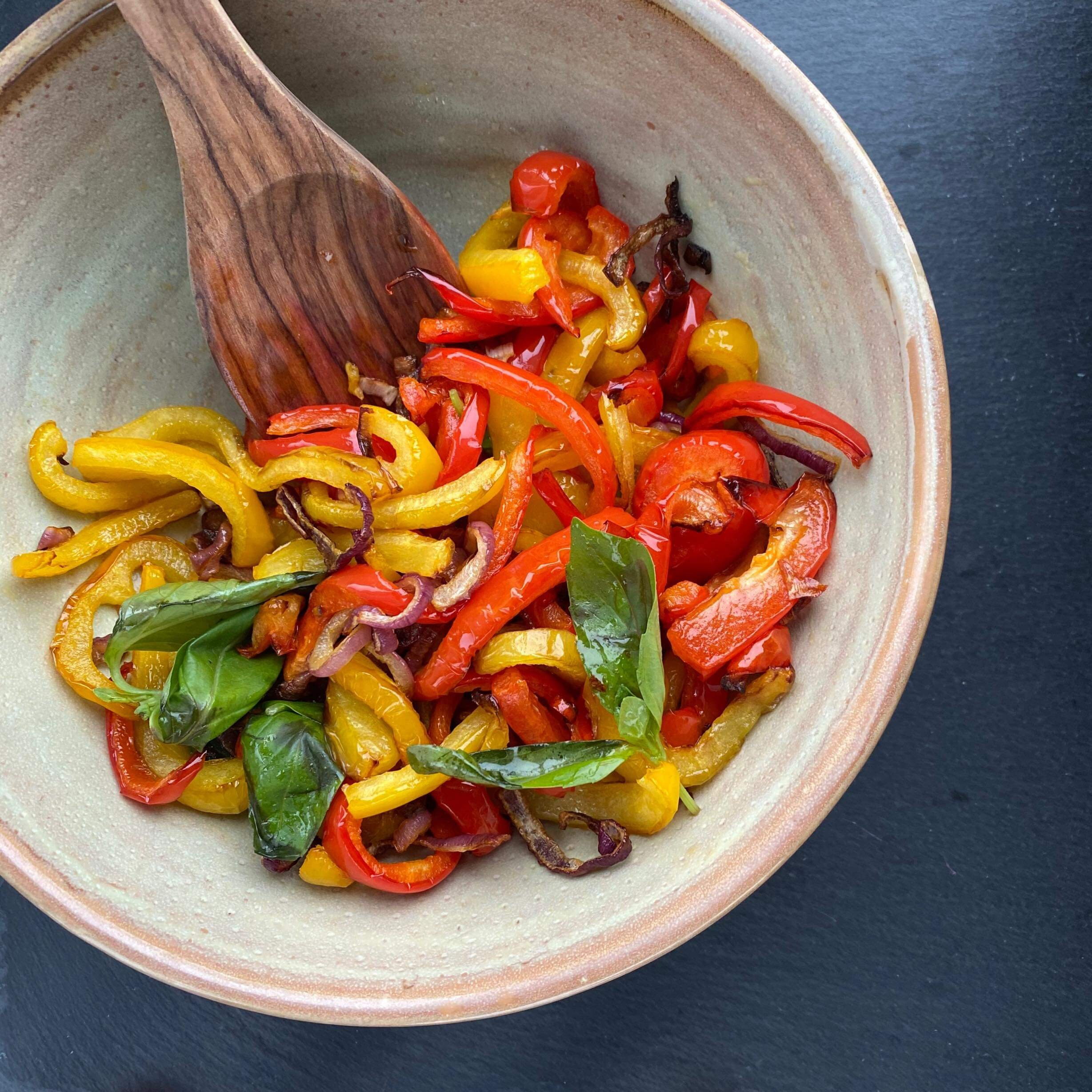 air fried roasted sweet peppers and onions recipe