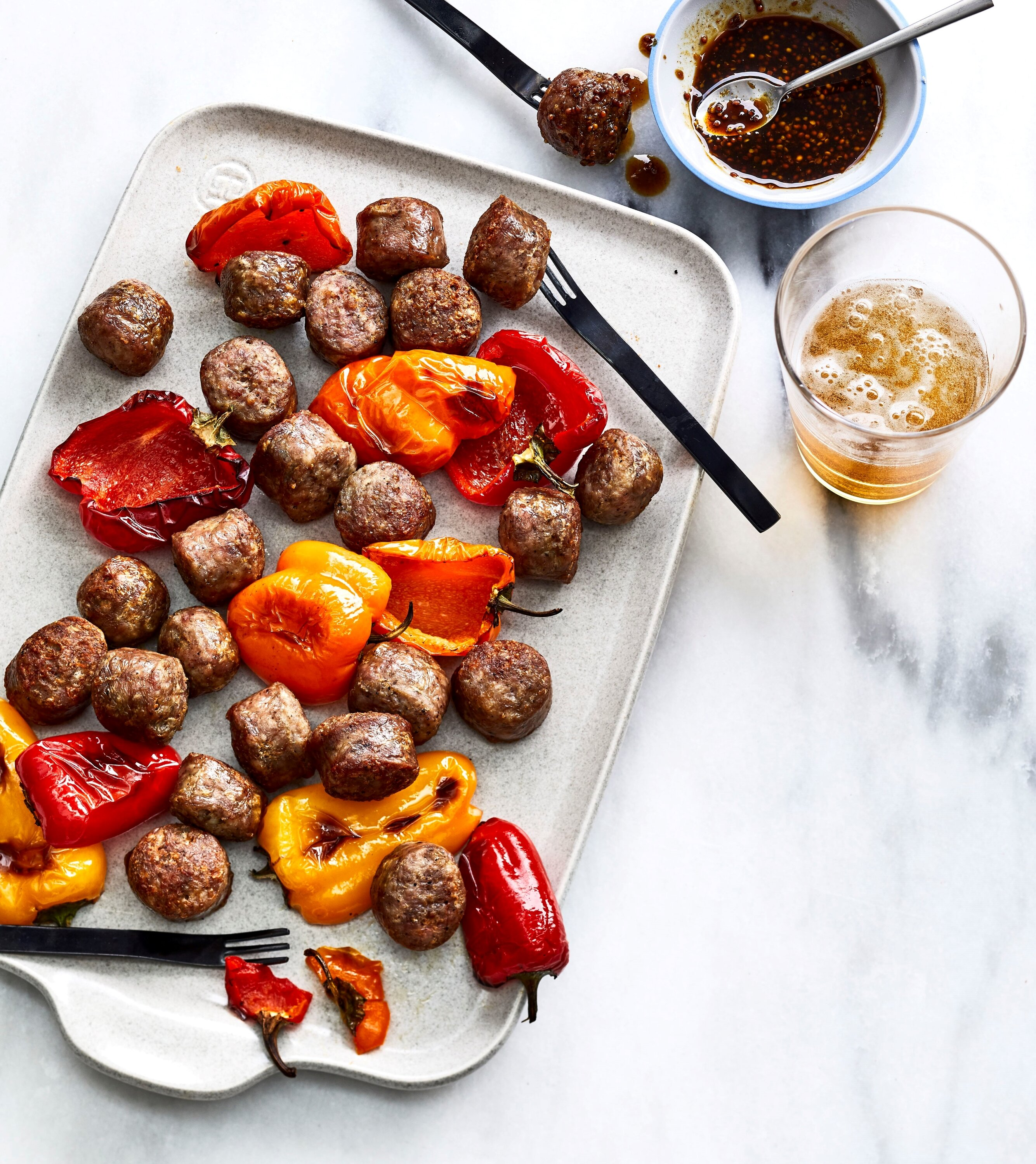 air fried bratwurst bites with spicy beer mustard recipe